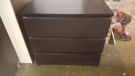 Black ikea bedroom set Chest of drawers, Bedside tables