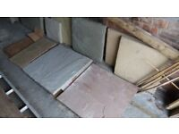 Mixed batch of paving slabs