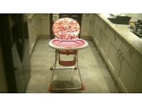 pink childrens high chair