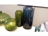 HABITAT STORE - Set of three various Decorative Home Accessory Glass Vases