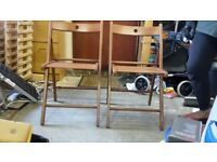 Foldable wooden chairs x2