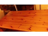 Large 8' x 3' pine farmhouse style kitchen table - end/ centre footbars - very solid table