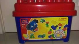 Lego box, bricks & board