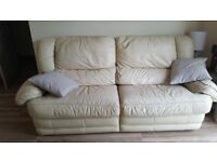 Creme Suite 3 Seater, Italian Leather with recliners