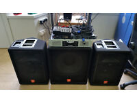 JBL Professional JRX 100 Series, 2 loudspeakers, 1 subwoofer, 1450W AMPLIFIER, Mixer, all cables