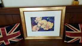 gold framed painting of flowers, signed