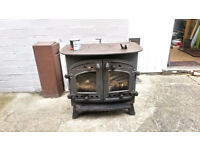 Villager Multifuel (incl. wood) stove, two door, hotplate, 60cm(w) x 58cm(h) x 35(d) (43 incl. flue)