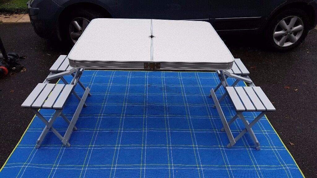 BLACK FRIDAY PRICE DROP NOW Folding Aluminium Picnic Table - Picnic table seats 12