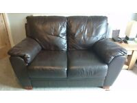 2 and 3 seat brown leather sofas