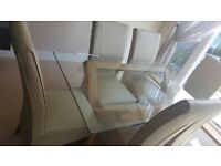 Oak And Glass Table From OAK Furniture Solution with 6X Marseille Leather Chairs