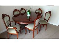 Italian design dining table and 6 chairs (2 carvers) and matching sideboard