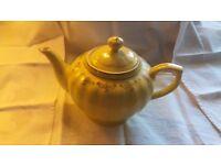 Tea pot lemon yellow with gold floral detail