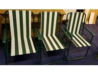 3 green/white picnic chairs