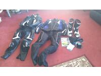 Motorbike leathers and boots