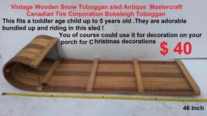 Vintage Wooden Snow Toboggan sled Antique  Mastercraft Canadian Tire Corporation Bobsleigh Toboggan