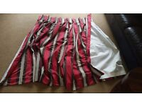 Two sets of curtains. Red, Brown, Beige stripes