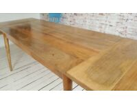 Mid-Century Living Hardwood Dining Table with Drawer - Space Saving Modern Extending