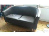 FREE BROWN FAUX LEATHER SOFA IN VAUXHALL (pick up only)!