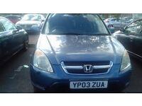 HONDA CR-V vi 2.0. petrol 2003, BLUE, 133000 miles, 1,998cc