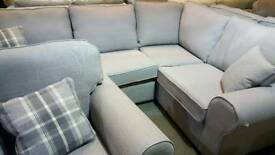 Grey fabric corner sofa with chair