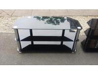 Large black chrome glass tv stand