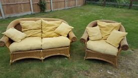 Bamboo cane 2 seater sofa and chair