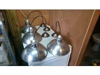 Vintage Factory Dome Pendant Lights For Sale