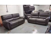NEW ScS GREY SATURN TWO x 3 SEATER ELECTRIC RECLINER SOFAS £450 Each View/Collect Kirkby NG17