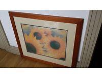 Sunflower print in pinewood frame