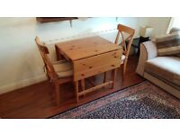 IKEA Collapsible Table with 2 chairs and seat cushions - Bargain - 2-4 Persons