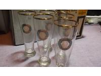 6 x Rastal Valentins Weizenbier Glasses with real Gold Rim