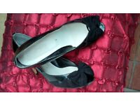 Black Patent Leather and Suede Peep Toe Court Shoes