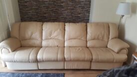Sofa, 4 seater leather sofa with electric reclining chairs.
