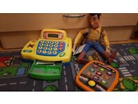 Cash register with coins, notes, cards, Tablet with sounds, music, Woody speaking . NEED GO ASAP
