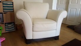 Designer leather sofa and armchair, excellent condition from a smoke & pet free home-REDUCED