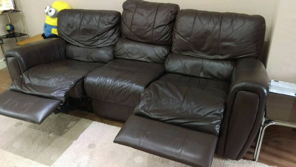 2 chocolate brown faux leather recliner sofasin Leicester, LeicestershireGumtree - 2 chocolate brown faux leather recliner sofas. One is a three seater recliner and the other is a 2 seater non recliner