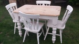Vintage pine table and chairs