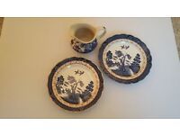 2 vintage pottery real old willow antique plates + 1 jug-