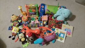Bundle of soft toys, learning toys, rattles