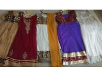 5 gorgeous designer asian 3 piece indian girls dresses. Approx age 7-9. In excellent condition