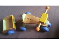 Early Learning Centre wooden trike with trailer