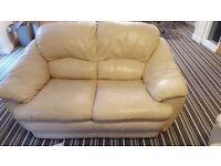 3 + 2 seater cream leather sofas - £50