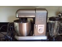 As new food mixer with liquidizer and cake attachments