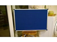 Large Top Quality Blue Felt Notice Board. Aluminium Frame. New Condition.