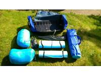 Camping set. 2 man tent, sleeping bags & mats with carry case