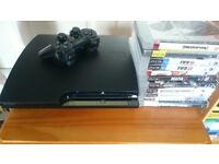 PS3 Slim, 250Hdd, original pad, 10 games, very good condition