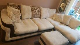 DFS LEFT HAND CORNER COUCH PLUS CHAIR AND POUFFE BROWN AND MINK