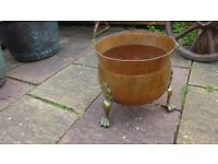 vintage copper three legged firewood basket