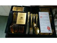 GOLD PLATED 70 PCS CUTLERY SET