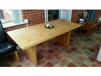 6 seater Solid Wood table finished in laminate wooden effect..Perfect for any growing family